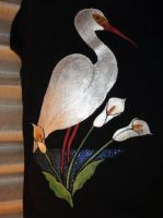 Egret with Calla Lillies by Destiny-Carter