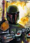 bobba fett sketch card by ErikHodson