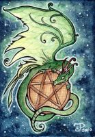 Dragon Pentagram ACEO by starwoodarts