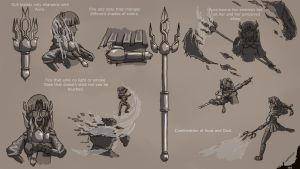 RWBY OC V weapon concept art by Leafymechypen