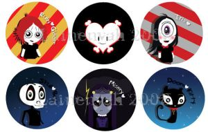 Ruby Gloom Button Set by lainenyah
