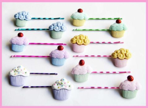 Cupcakes Bobby Pins by cherryboop