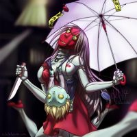 Ken Ishii Extra Red Psycho Robot Woman by sickdelusion
