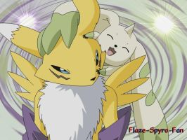 Renamon and Terriermon by Crimson-Flazey