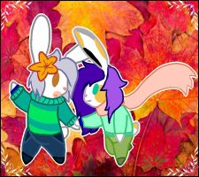Bunnies in autumn-Young sisters by dinazul