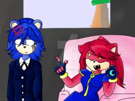 Blue the bear and  Moon the hedghog by 303darkshadows