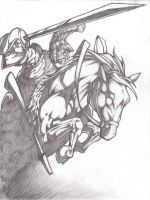guy on horse finished pencil by VASS-comics