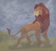 Simba in the rain by Atarial