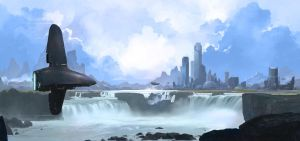 Waterfall city by sketchboook