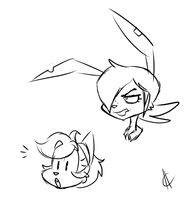 Cat and Rabbit Doodles 022515 by Atrox-C