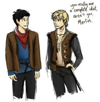 Merlin and Arthur by compoundbreadd