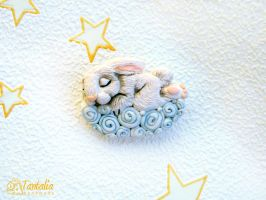 Brooch Sleeping Bunny by Tantalia