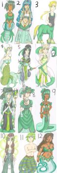 St. Patrick's Day adoptable batch(11/12 SOLD) by Azure-wolf96
