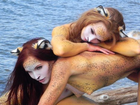 Gingerotica - Leopard Body Paint 02 by Gingersnap-Pixie