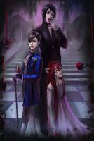 Ciel Phantomhive,Sebastian Michaelis and Grell by Daria-Rise