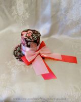 Mini Brown and Pink Top Hat w Bow by ButterflyInDisguise