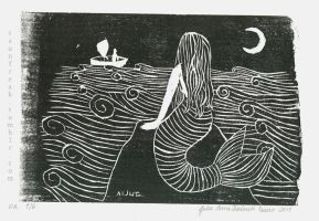 Mermaid Woodcut by Teodorak