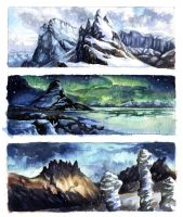 Watercolour landscape practice by OFools