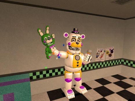 Funtime Fredbear and The Ruffal Hand Puppet by Beastthedog15