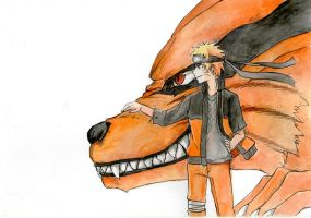 Naruto and Kurama by AmanoChio