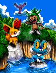Pokemon X and Y: Starters (Colored) by matsuyama-takeshi
