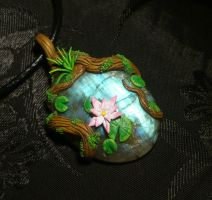 Nymphs Pond - handmade Pendant with Labradorite by Ganjamira