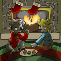 Sharing Christmas Cookie with a Friend by Scamp-Breezy