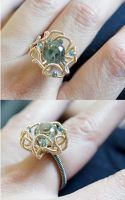 Prasiolite Blue Diamond Flower Ring by CrysallisCreations