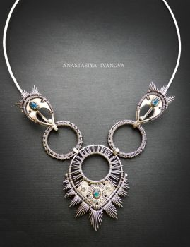 silver necklace with apatite by nastya-iv83