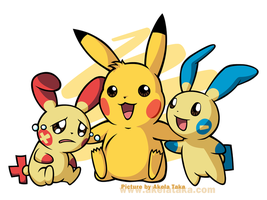 Pikachu, Plusle and Minun by akelataka