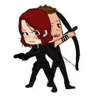Natasha + Clint - chibi battlin' by rabbitzoro
