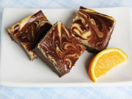 Chocolate Orange Cheesecake Swirl Brownies by Kitteh-Pawz