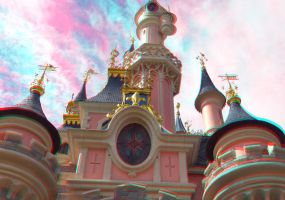 Disney Castle Anaglyph 3D by zentron