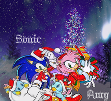 SonAmy Christmas Background by Flip0024