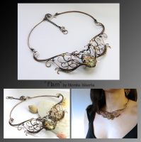Flam- wire wrapped necklace by mea00