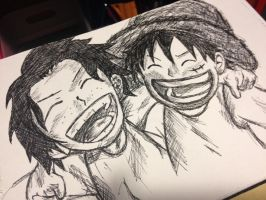 One Piece - Ace and Luffy by Zerox-II