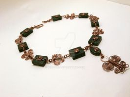 Copper and Serpentine Butterfly Choker by Kindori