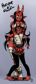 Hornpot and Clawdia by Ragathol