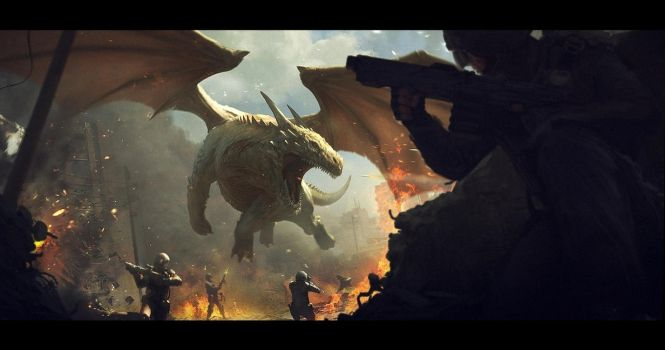 Dragon vs soldiers by AndreeWallin