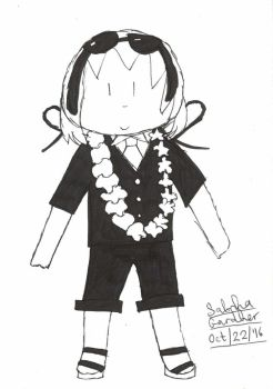 Jollimore Wearing a Lei - Ink Doodle by TheRealCanadianBoys