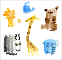Watercolour Animals by elbooga