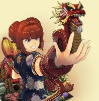 Cheongsam and Dragon by Heiispoon