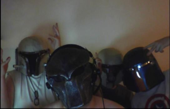 me and freinds wearing my helmets by slavianv