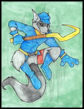 Original: Watercolor and Ink Sly Cooper 2015 by AirRaiser