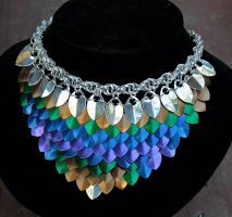 Peacock Scale Necklace by Ichi-Black