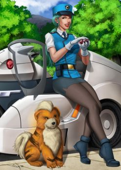 Officer Jenny and Growlithe by iurypadilha