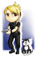 Riza Hawkeye and Hayate Chibis by YourViolentStalker