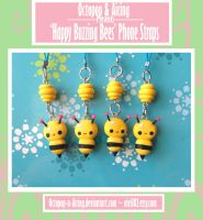 Happy Buzzing Bees Phone Straps by Octopop-n-Aicing
