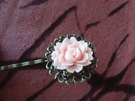 Antique Brass Filigree Hair Pin with Pink Rose by TolekaChan
