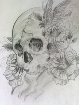 Skull, flowers, feathers by JednaJedyna